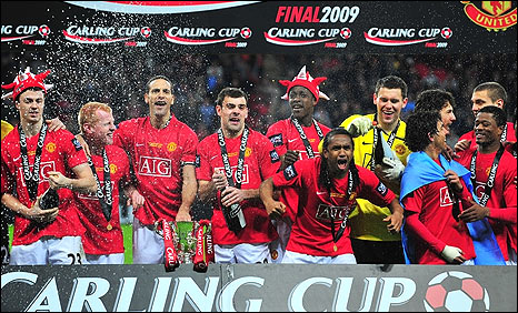 Manchester United winning the Carling Cup 2009