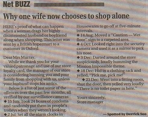 Smart Husband of Shopper Wife