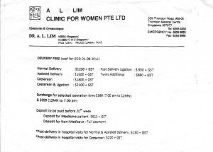 A L Lim Clinic for Women Pte Ltd Fees