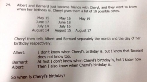 Cheryl Birthday Question